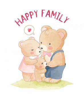 Illustration de dessin animé famille ours heureux