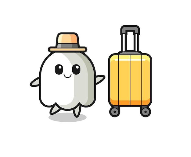 Illustration de dessin animé fantôme avec bagages en vacances, design de style mignon pour t-shirt, autocollant, élément de logo