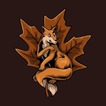 Illustration de dessin animé de feuilles d'automne de renard