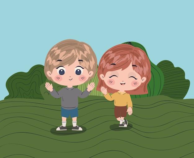 Illustration de dessin animé fille et garçon