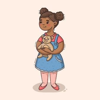 Illustration de dessin animé fille noire