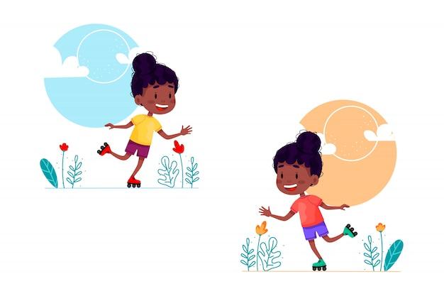 Illustration de dessin animé de fille de patinage à roulettes. heureux enfant marchant sur des rouleaux. vacances d'été activités de plein air pour les enfants. illustration sur fond isolé blanc.