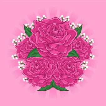 Illustration de dessin animé de fleur rose