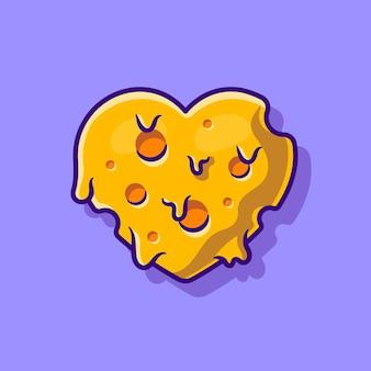 Illustration de dessin animé fondu d'amour de fromage. style de bande dessinée plat