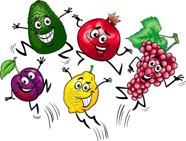 Illustration de dessin animé de fruits sautant