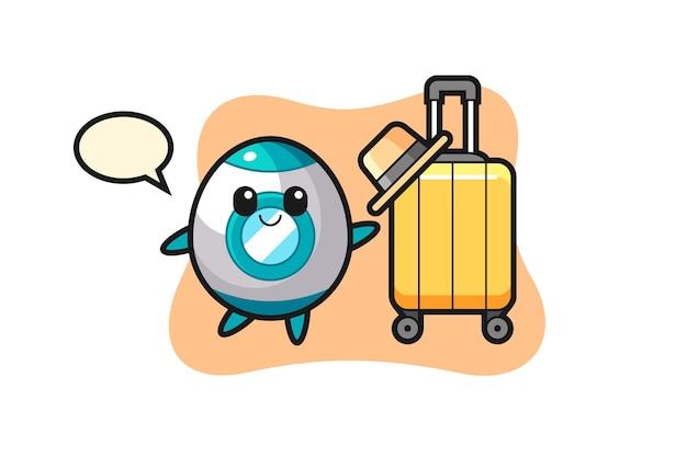 Illustration de dessin animé de fusée avec des bagages en vacances, design de style mignon pour t-shirt, autocollant, élément de logo