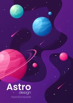 Illustration de dessin animé futuriste de l'espace lointain