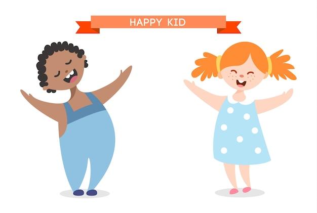 Illustration de dessin animé de gamin heureux isolé sur fond blanc