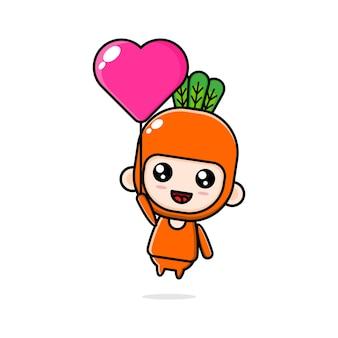Illustration de dessin animé d'un garçon chibi portant un costume de carotte