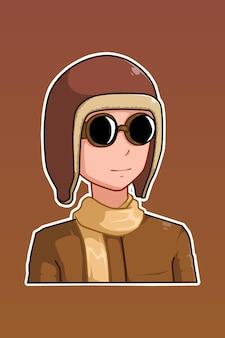 Illustration de dessin animé garçon pilote