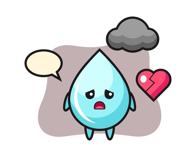 Illustration de dessin animé de goutte d'eau est un coeur brisé, conception de style mignon pour t-shirt