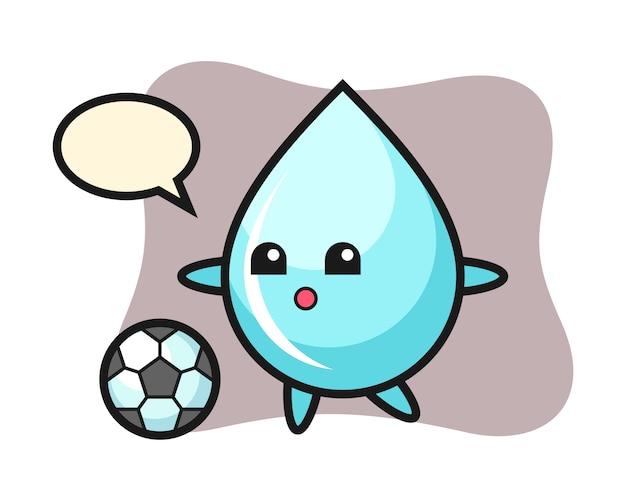 Illustration de dessin animé de goutte d'eau joue au football, conception de style mignon pour t-shirt