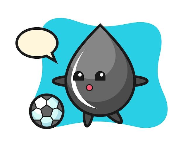Illustration de dessin animé de goutte d'huile joue au football