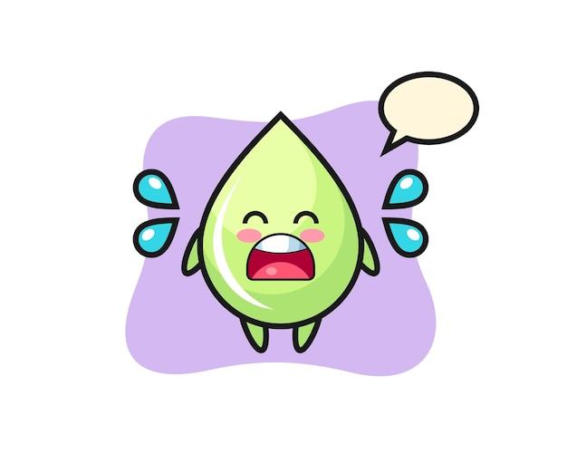 Illustration de dessin animé de goutte de jus de melon avec un geste qui pleure, design de style mignon pour t-shirt, autocollant, élément de logo