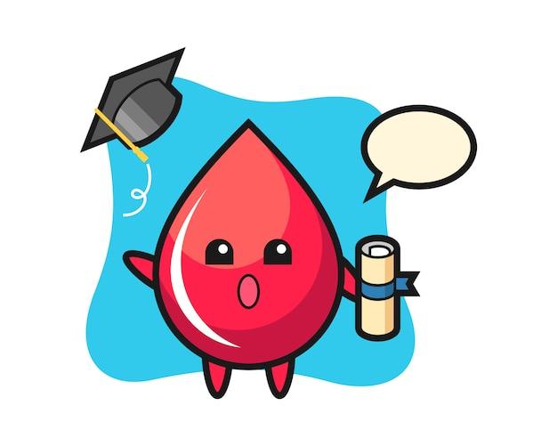 Illustration de dessin animé de goutte de sang jetant le chapeau à l'obtention du diplôme, style mignon, autocollant, élément de logo
