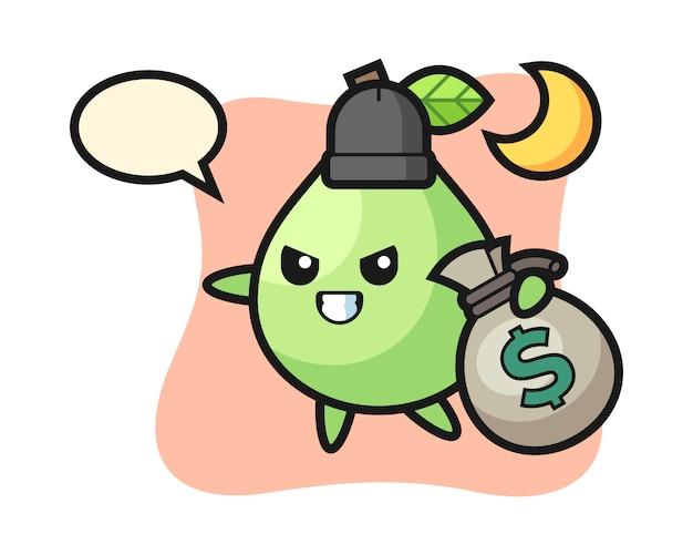 Illustration de dessin animé de goyave est volé l'argent, conception de style mignon pour t-shirt, autocollant, élément de logo