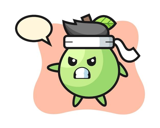 Illustration de dessin animé de goyave en tant que combattant de karaté, conception de style mignon pour t-shirt, autocollant, élément de logo