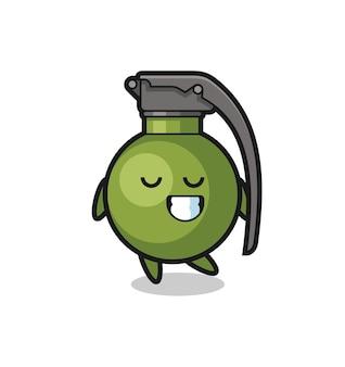 Illustration de dessin animé de grenade avec une expression timide, design de style mignon pour t-shirt, autocollant, élément de logo
