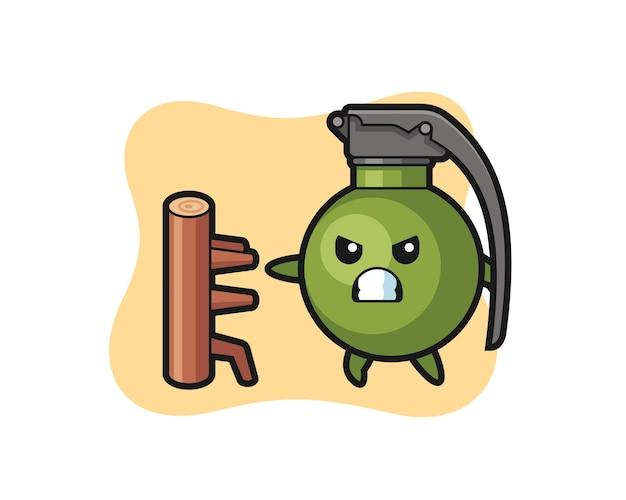 Illustration de dessin animé de grenade en tant que combattant de karaté, design de style mignon pour t-shirt, autocollant, élément de logo