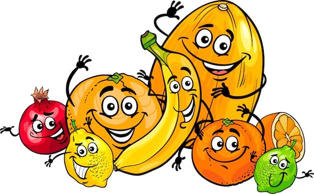 Illustration de dessin animé de groupe agrumes