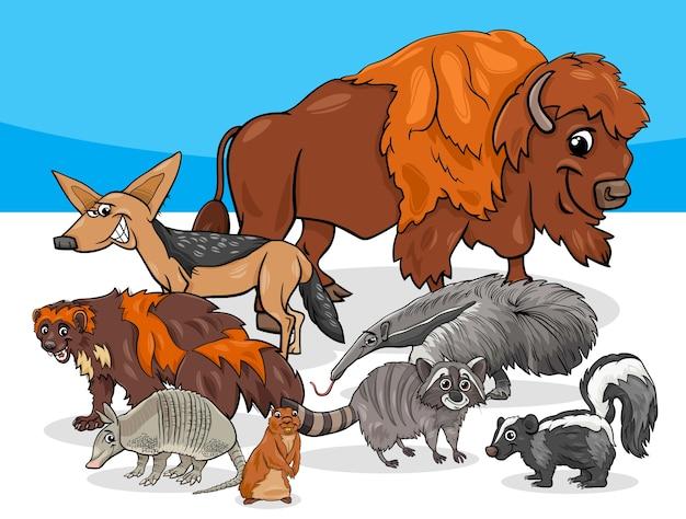 Illustration de dessin animé de groupe d'animaux américains