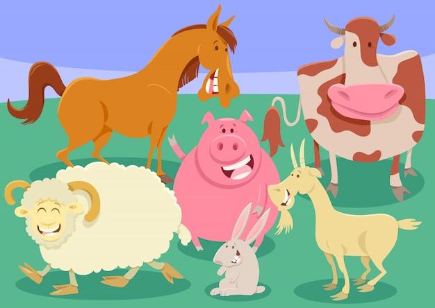 Illustration de dessin animé groupe animaux de la ferme