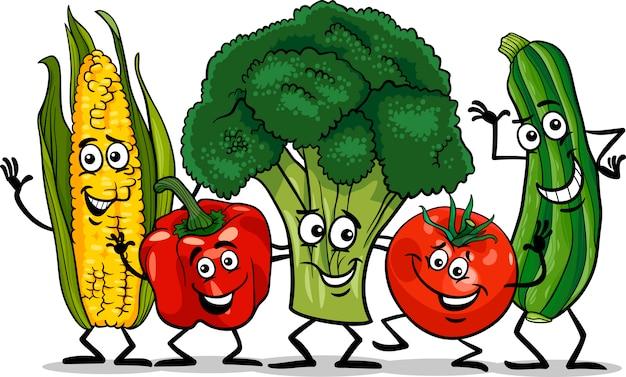 Illustration de dessin animé de groupe de légumes comiques