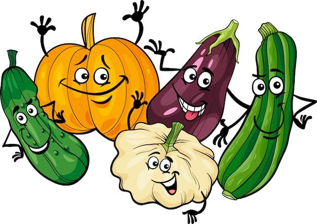 Illustration de dessin animé de groupe de légumes cucurbitacées