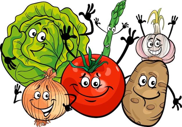 Illustration de dessin animé de groupe de légumes