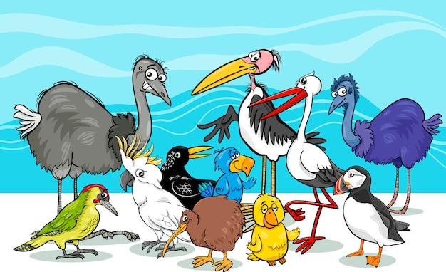 Illustration de dessin animé de groupe d'oiseaux