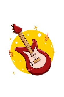 Illustration de dessin animé guitare basse musique icône