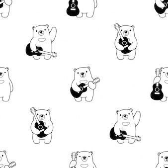 Illustration de dessin animé de guitare polaire modèle sans couture ours