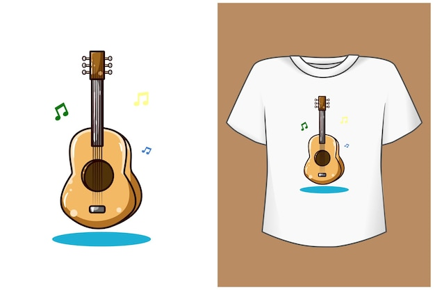 Illustration de dessin animé de guitare