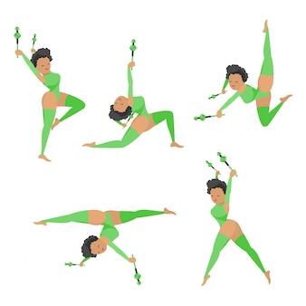 Illustration de dessin animé de gymnastique vectorielle