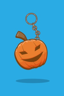 Illustration de dessin animé halloween citrouille porte-clés