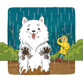Illustration dessin animé heureux chien sale marchant sous la pluie