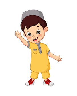 Illustration de dessin animé heureux garçon musulman