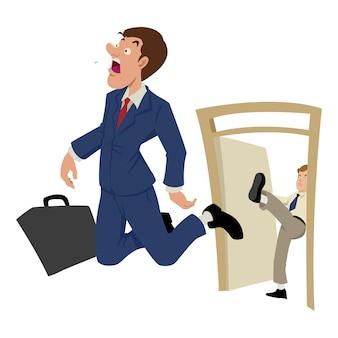 Illustration de dessin animé d'un homme d'affaires étant expulsé