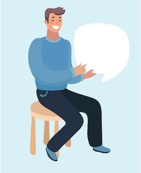Illustration de dessin animé de l'homme assis tenir des messages texte discours bublle