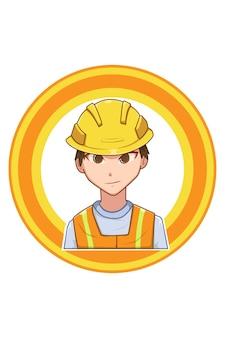 Illustration de dessin animé homme de construction