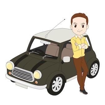 Illustration de dessin animé d'un homme s'appuyant sur une voiture.