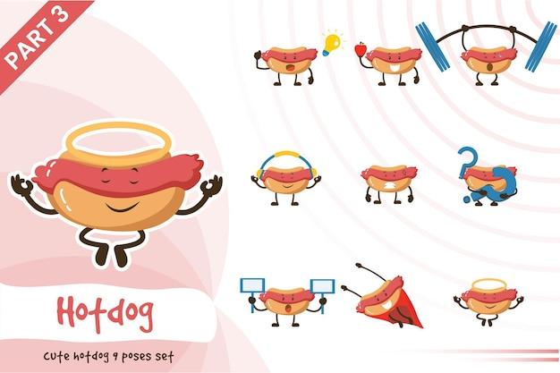 Illustration de dessin animé hot-dog pose ensemble.