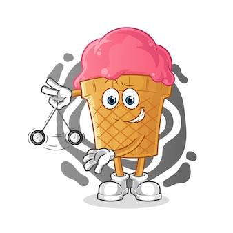 Illustration de dessin animé hypnotisant de crème glacée