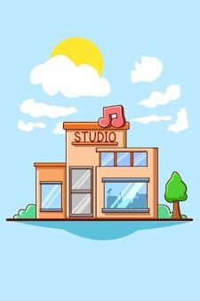 Illustration De Dessin Animé D'icône De Bâtiment De Musique De Studio Vecteur Premium