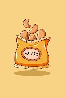 Illustration de dessin animé icône collation pomme de terre