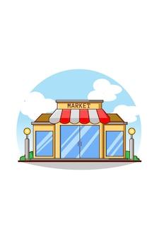 Illustration de dessin animé d'icône de magasin de marché
