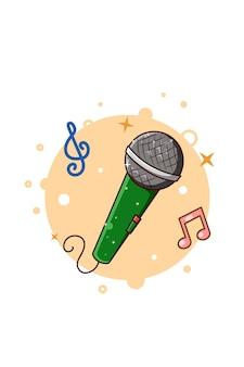 Illustration de dessin animé d'icône de musique de microphone