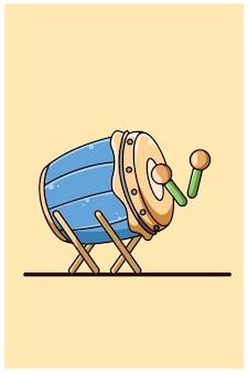 Illustration de dessin animé icône tambour mosquée