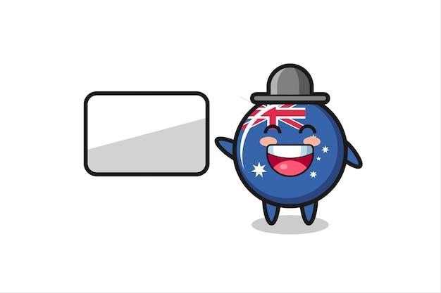Illustration de dessin animé d'insigne de drapeau australien faisant une présentation, conception de style mignon pour t-shirt, autocollant, élément de logo