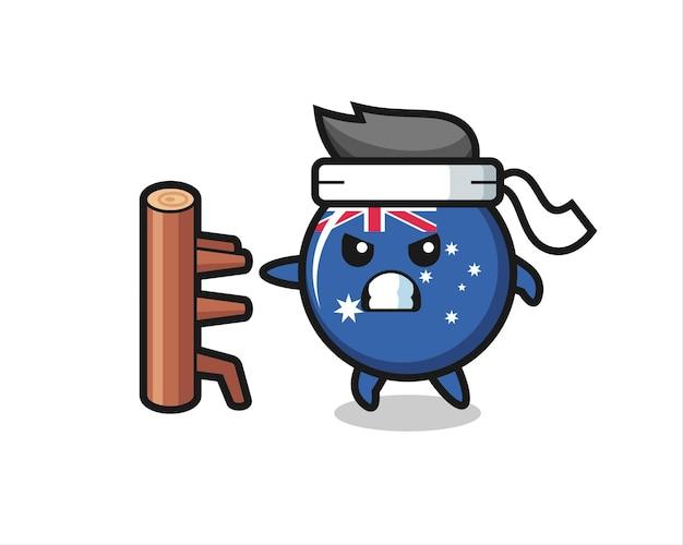 Illustration de dessin animé d'insigne de drapeau australien en tant que combattant de karaté, conception de style mignon pour t-shirt, autocollant, élément de logo